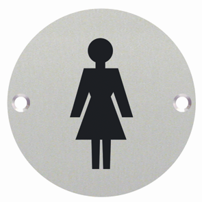 Female Symbol Toilet WC Engraved Sign 76mm Dia - Satin Stainless Steel - Choice Handles