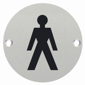 Male Symbol Toilet WC Engraved Sign 76mm Dia - Polished Stainless Steel