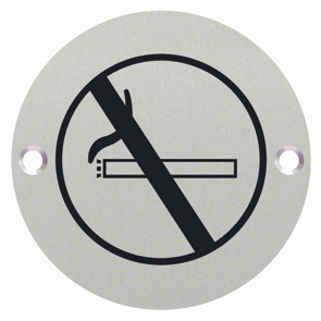 No Smoking Engraved Sign 76mm dia - Satin Stainless Steel