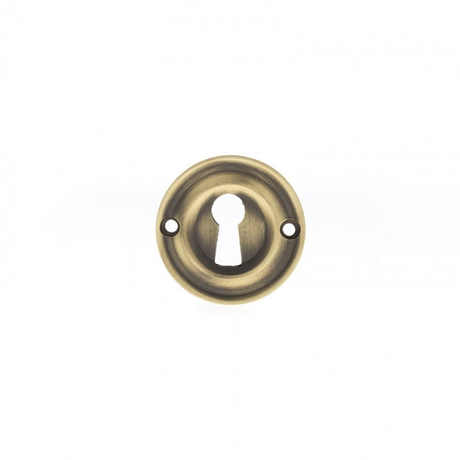 Atlantic Old English Solid Brass Open Key Hole Escutcheon - Matt Antique Brass - OERKEMAB (Pair)