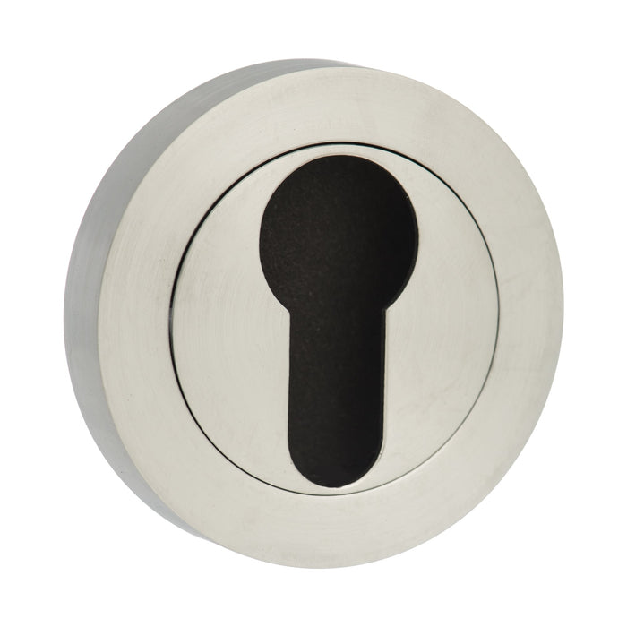 Atlantic STATUS Euro Escutcheon on Round Rose - Satin Chrome - S2ESCERSC (Pairs)