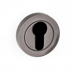 Atlantic STATUS Euro Escutcheon on Round Rose - Black Nickel - S2ESCERBN - Choice Handles