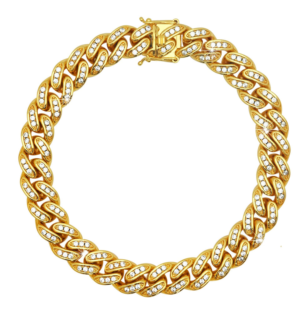 Miami Cuban Link C.Z Gold Plated Bracelet