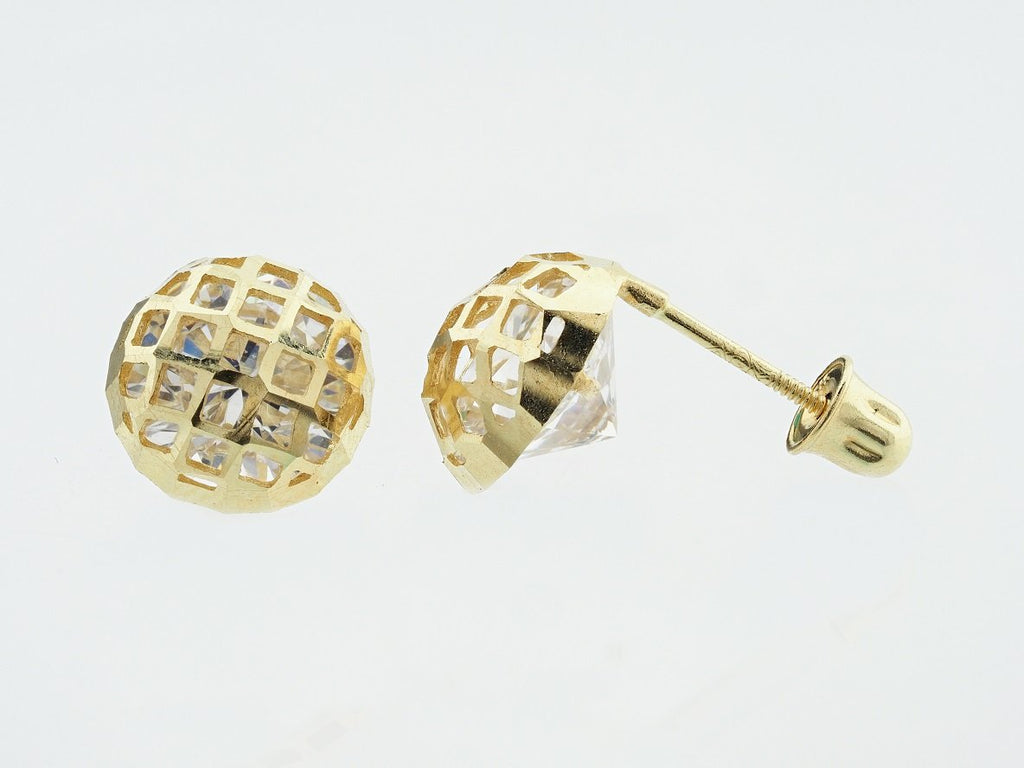 14KT Honeycomb C.Z Screw Back Studs