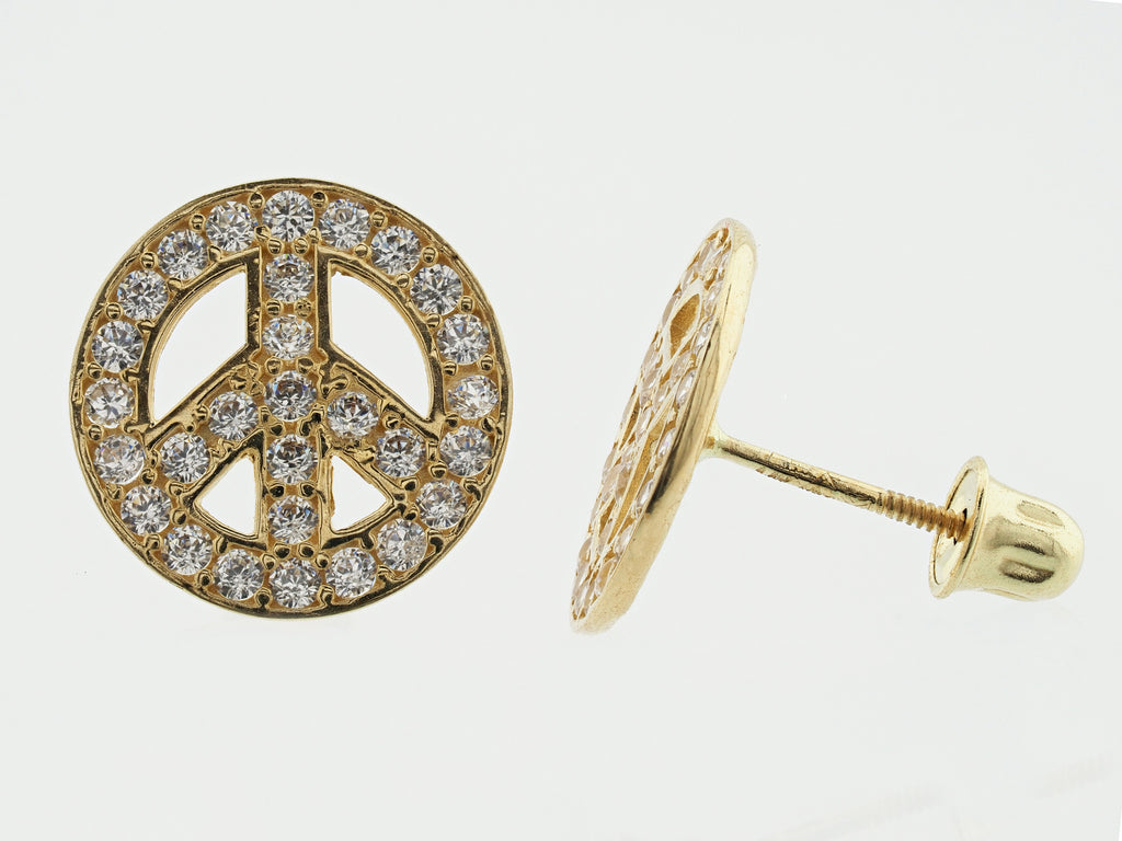 14KT Peace Sign C.Z Screw Back Studs
