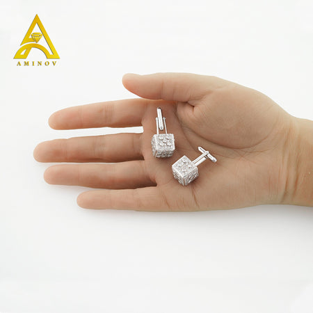 Sterling Silver .925 Dice Cube Cufflinks with CZ Stones