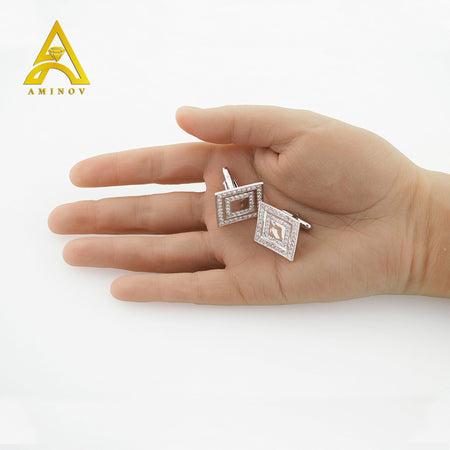 Sterling Silver .925 Square Cufflinks with CZ Stones