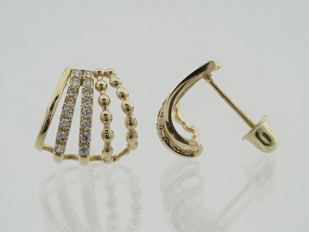 14KT Shell Design C.Z Screw Back Studs