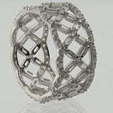 Sterling Silver .925 C.Z Lattice Design Eternity Ring