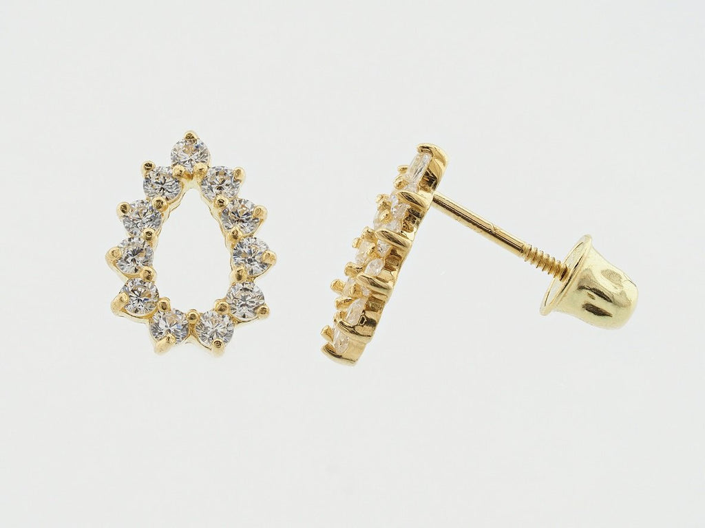 14KT Teardrop C.Z Screw Back Studs
