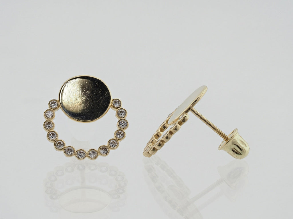 14KT Circle C.Z Screw Back Studs