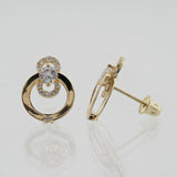 14KT Post C.Z Screw Back Circle Studs
