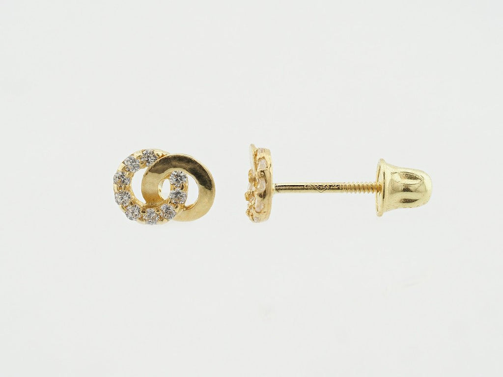 14KT Double Loop C.Z Screw Back Studs