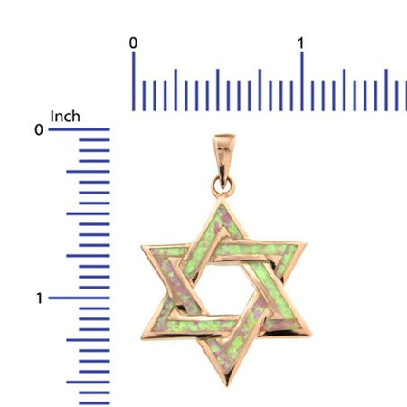 Sterling Silver .925 Opal Star of David Pendant