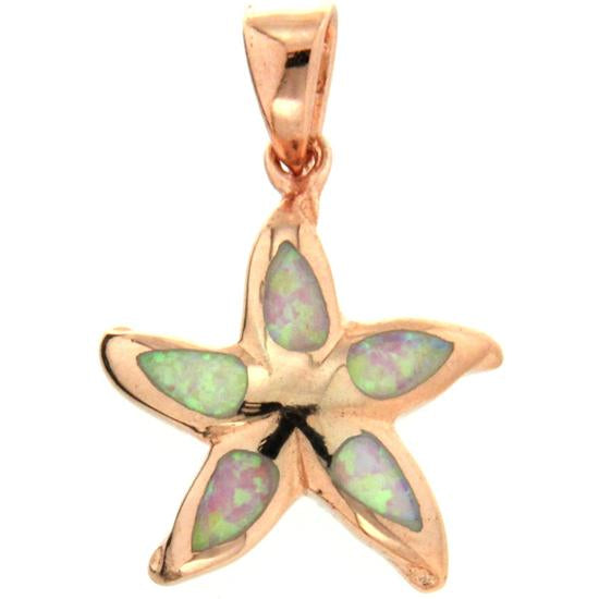 Sterling Silver .925 Opal Starfish Pendant