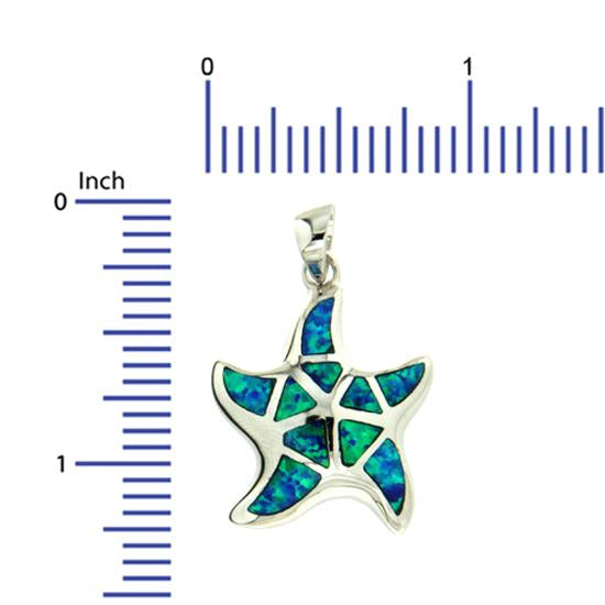 Sterling Silver .925 C.Z Opal Starfish Pendant