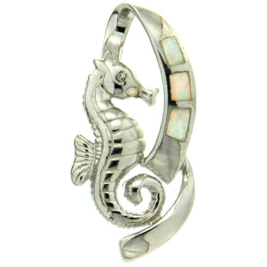 Sterling Silver .925 C.Z Opal Seahorse Pendant
