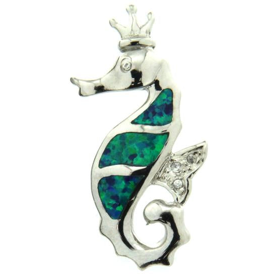 Sterling Silver .925 C.Z Opal Seahorse with Crown Pendant