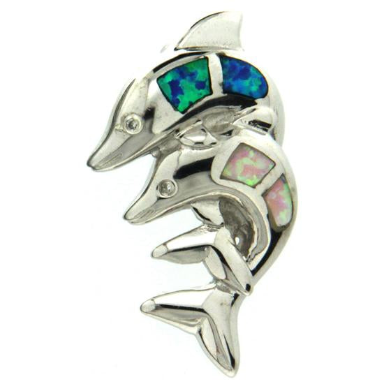 Sterling Silver .925 C.Z Opal Dolphins Pendant