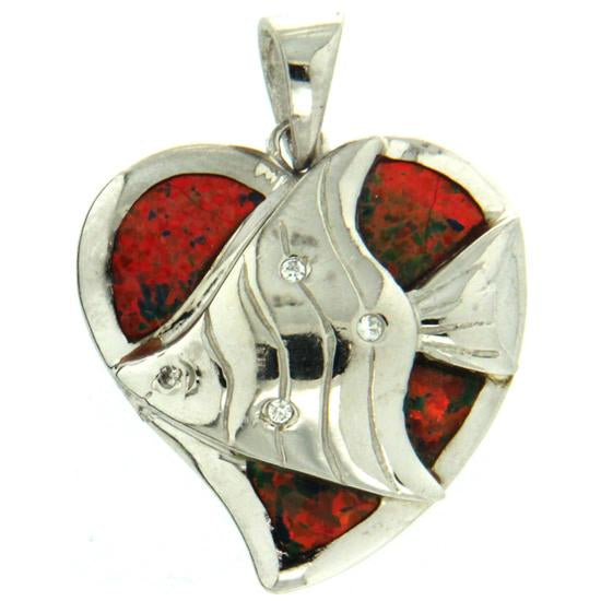 Sterling Silver .925 C.Z Opal Heart and Fish Pendant