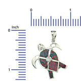 Sterling Silver .925 C.Z Opal Turtles Pendant