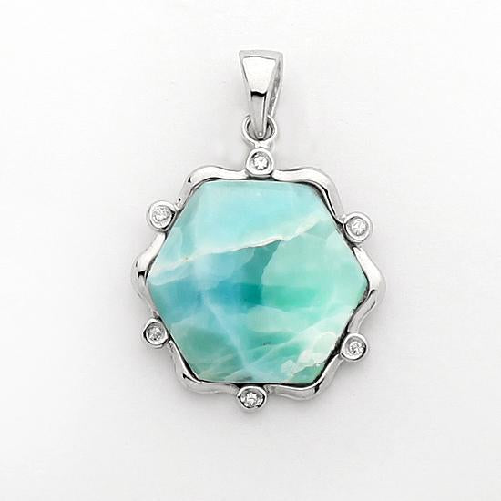 Sterling Silver .925 C.Z Larimar Hexagon Pendant