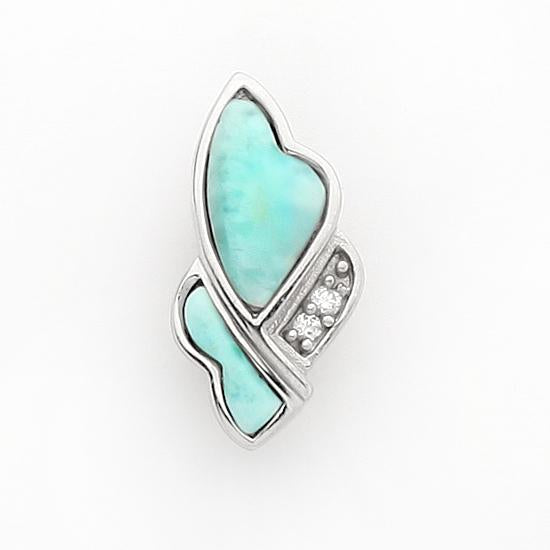 Sterling Silver .925 C.Z Larimar Abstract Heart Pendant