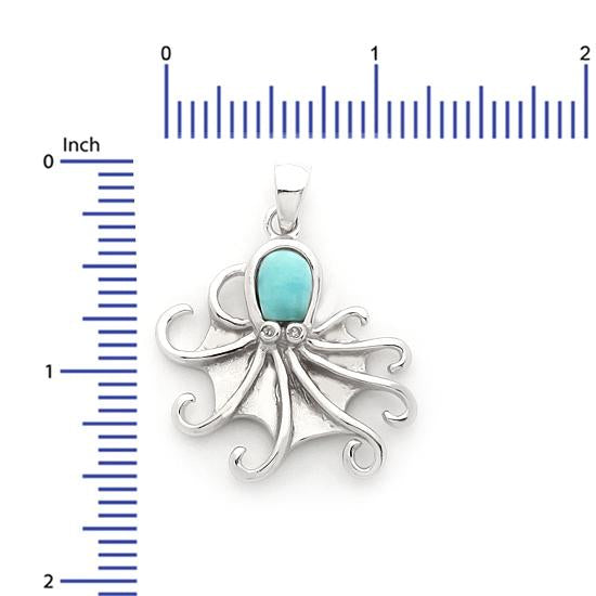 Sterling Silver .925 C.Z Larimar Octopus Pendant
