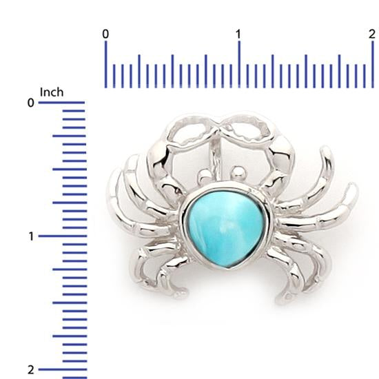 Sterling Silver .925 C.Z Larimar Crab Pendant