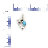 Sterling Silver .925 C.Z Larimar Dolphin Pendant
