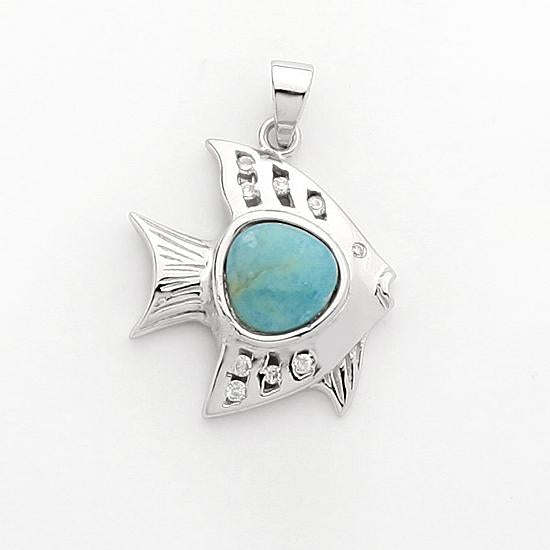 Sterling Silver .925 C.Z Larimar Fish Pendant