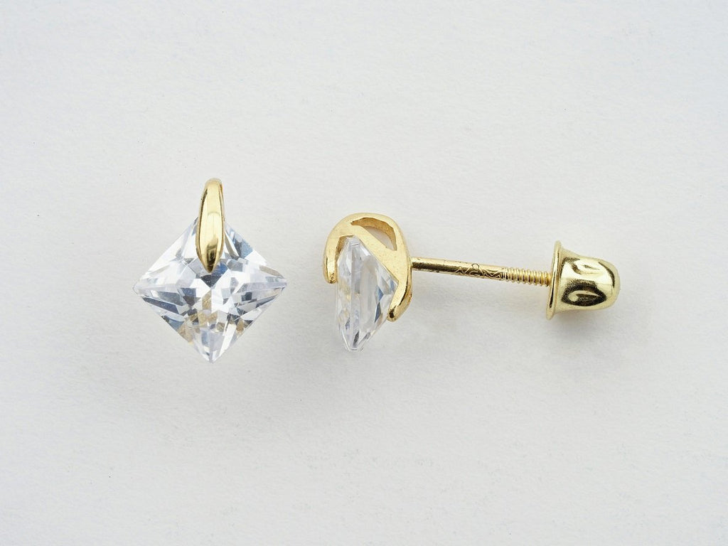 14KT Princess-Cut C.Z Screw Back Studs