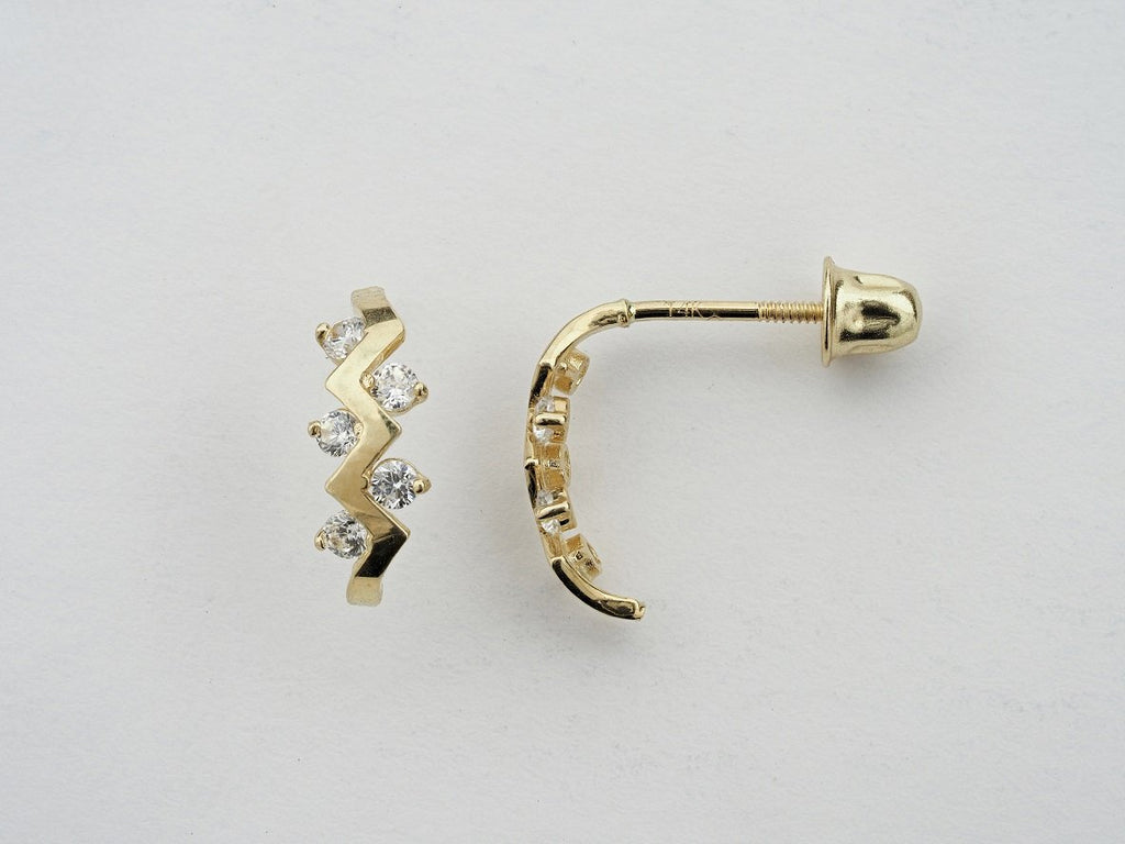 14KT C.Z Screw Back Studs