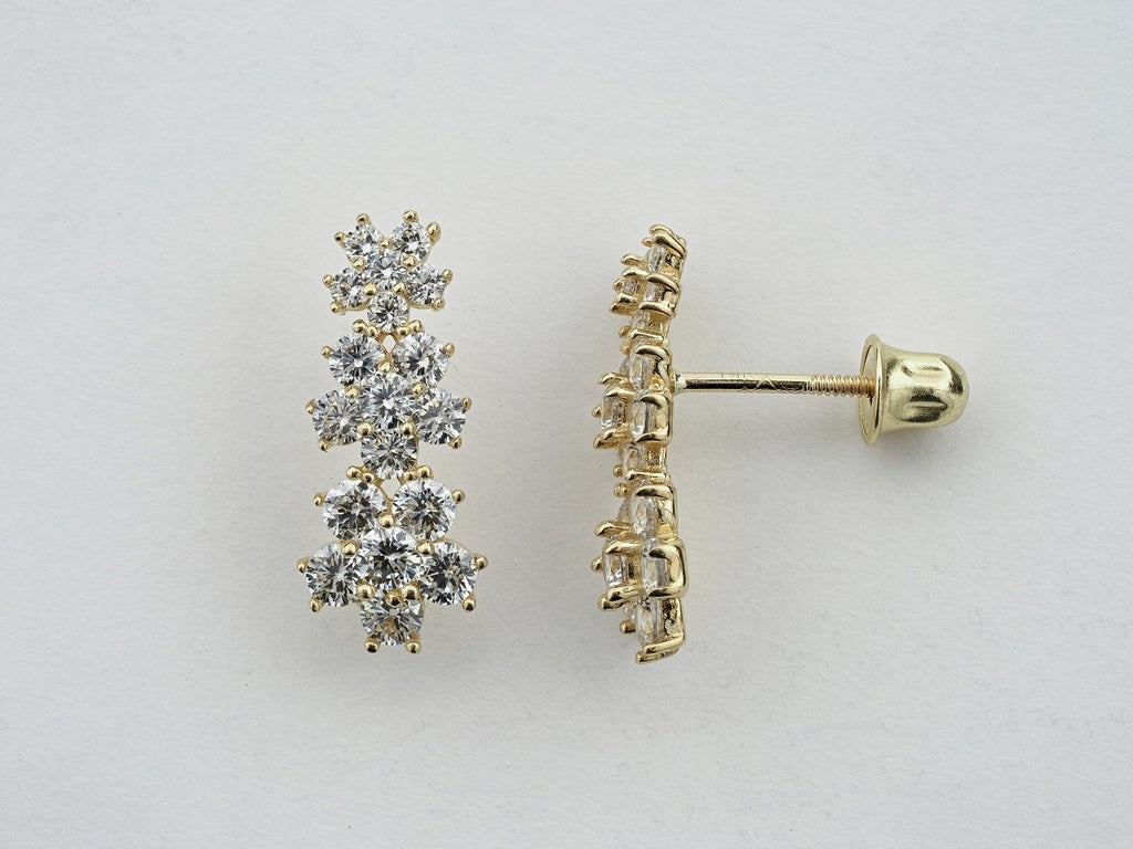 14KT Flower C.Z Screw Back Studs