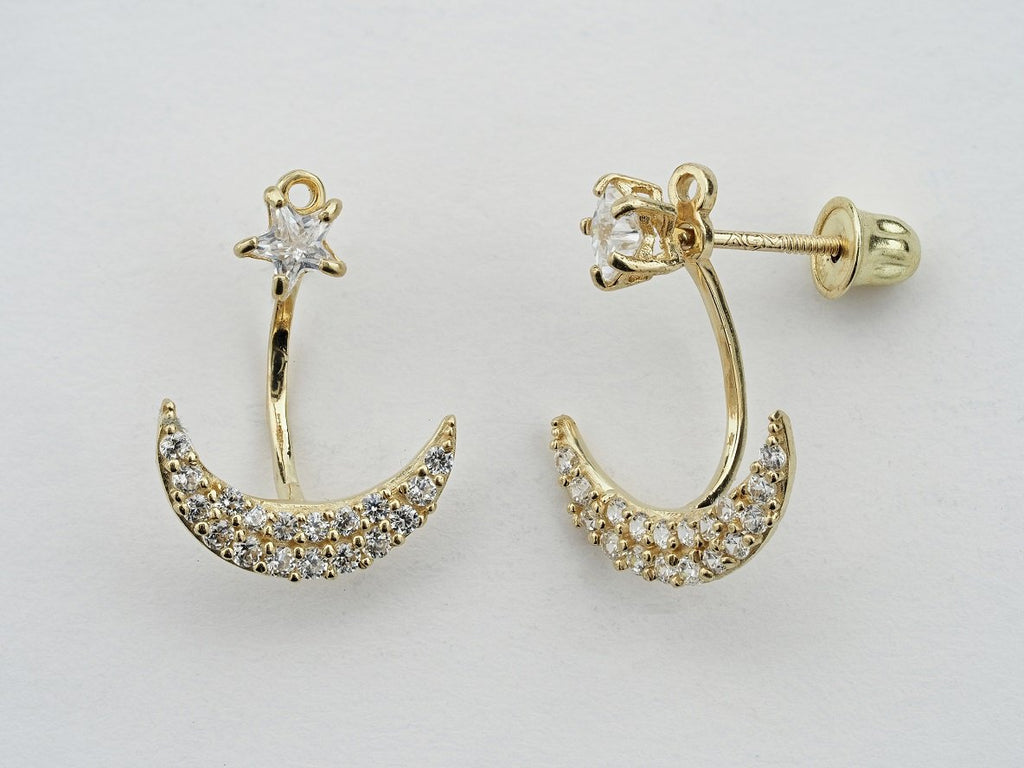 14KT Star and Crescent Moon Earring Jacket C.Z Screw Back Studs