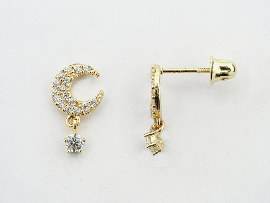 14KT Crescent Moon C.Z Hanging Screw Back Studs