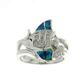 Sterling Silver .925 C.Z Opal Fish Ring