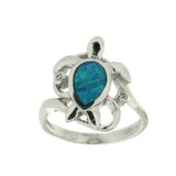 Sterling Silver .925 C.Z Opal Turtle Ring