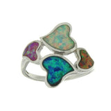 Sterling Silver .925 C.Z Opal Hearts Ring