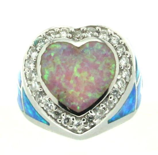 Sterling Silver .925 C.Z Opal Heart Ring