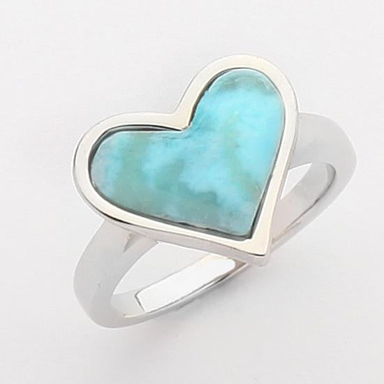 Sterling Silver .925 C.Z with stone Larimar Heart Ring