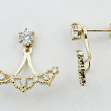 14KT Heart Design Earring Jacket Shaped C.Z Screw Back Studs