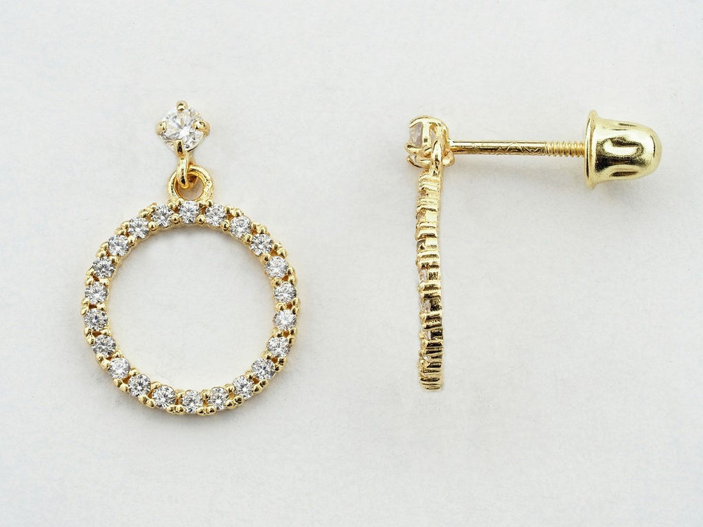 14KT Open Circle C.Z Hanging Screw Back Studs