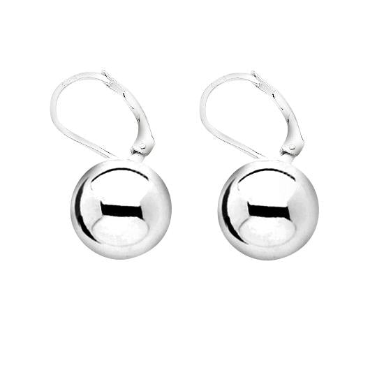 Sterling Silver .925 12MM Hollow Ball Leverback Earrings