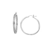 Sterling Silver .925 C.Z 30MM Hoops
