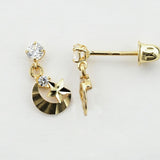 14KT Star and Crescent Moon C.Z Hanging Screw Back Studs