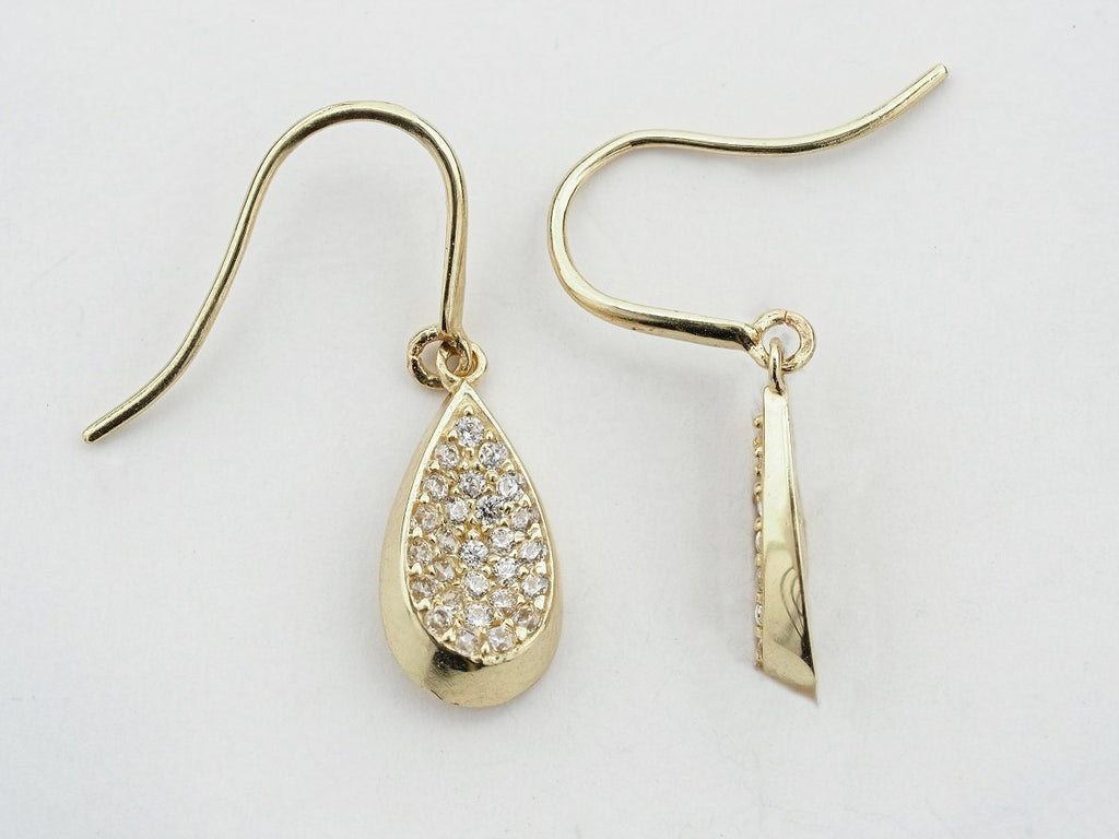 14KT Teardrop C.Z Hanging Hook Earrings