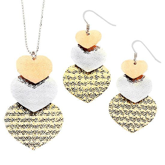 Sterling Silver .925 Tricolor Hearts Earrings and Necklace Set