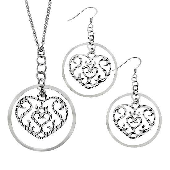 Sterling Silver .925 Filigree Heart Earrings and Necklace Set
