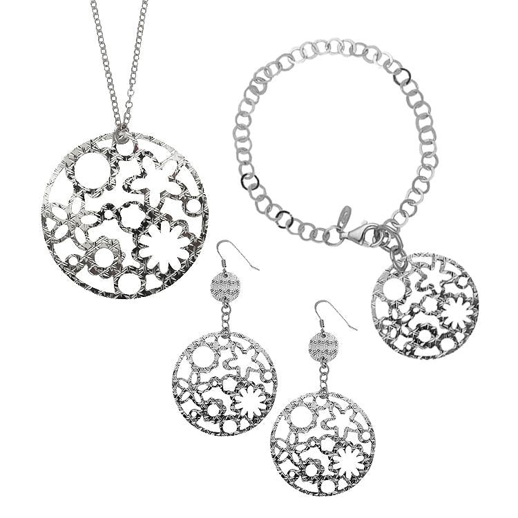 Sterling Silver .925 Filigree Flowers Earrings, Bracelet and Necklace Set